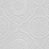 "Manhattan comfort NW48932 Carter Series Vinyl Textured Paintable Floral Scroll Boarded Square Design Large Wallpaper Roll, 21"" W x 33'L, White"