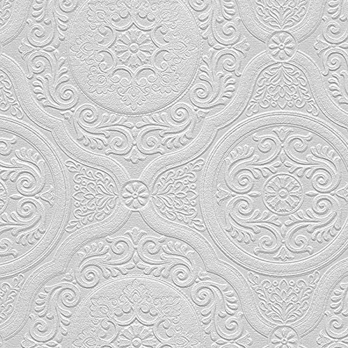 Textured White Vinyl (Manhattan comfort NW48932 Carter Series Vinyl Textured Paintable Floral Scroll Boarded Square Design Large Wallpaper Roll, 21
