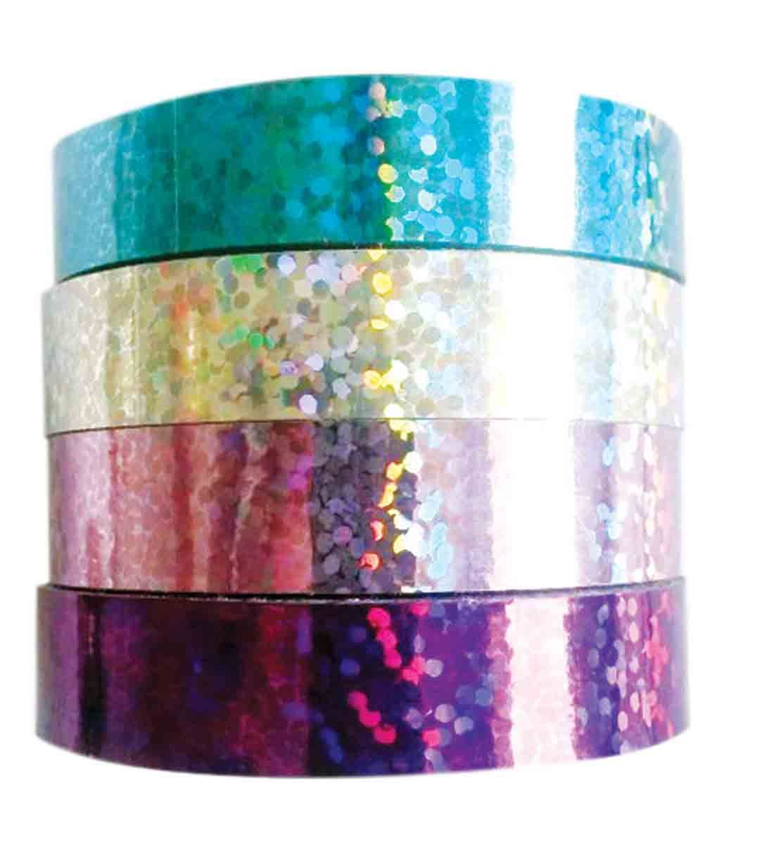 MegaCrea DIY Rubans adh/ésif Holographique 1 cm 4 pi/èces