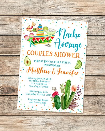 Nacho Average Couples Shower Invitations, Fiesta Co-Ed Shower Invitations, Mexican Theme Wedding Shower Invitations, Mexican Hat, Margarita Fiesta Shower Invites ()