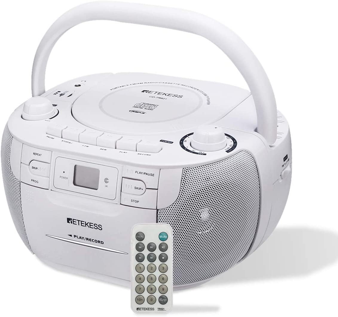 Retekess TR621 CD Cassette Player, Portable Boombox AM FM Radio, MP3 Player Stereo Sound with Headphone Jack and Remote Control, Gift for Family (White)