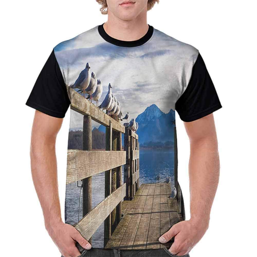BlountDecor Loose T Shirt,Seagulls Old Jetty Lake Fashion Personality Customization