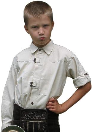 Niños Camisa Salzach Blanco Camisa de traje típico de niños de algodón camisa s – XXXL