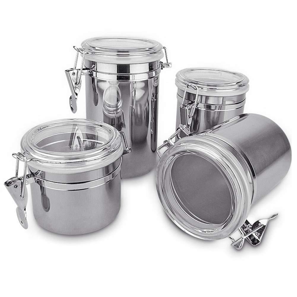 As Picture Show Contenedor de acero inoxidable para salero de cocina de 10 cm con tapas herm/éticas juego de 4 4inch