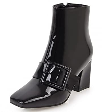 4df3f00b744 Rongzhi Womens Ankle Boots Buckle Zip Thick Block Heels Square Toe Booties  Shiny Patent Leather Black