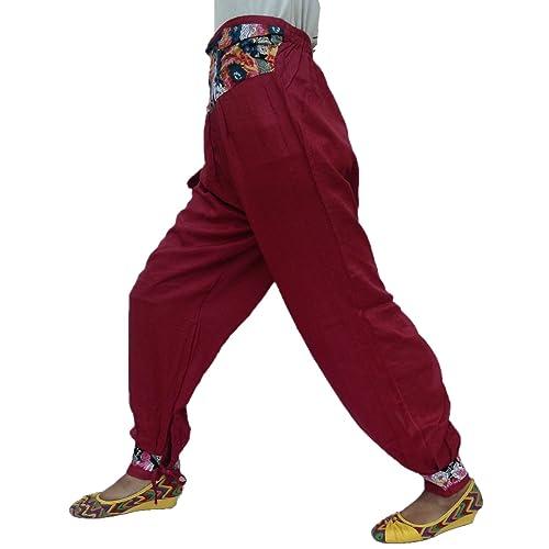 Bonito Estilo Nepalí Atrás Elástica Cintura 4 Delantero Bolsillo Rayón Pijama Pantalón