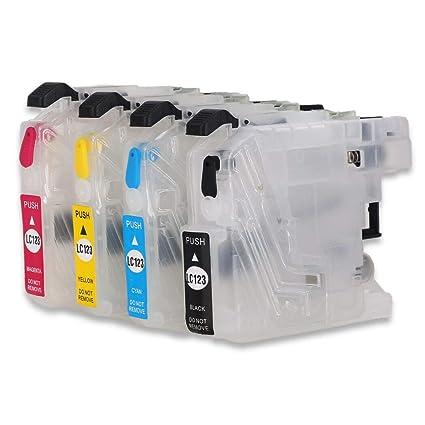 LC123 - Cartucho de Tinta vacío Recargable Compatible con Impresora Brother MFC-J6920DW,MFC-J6520DW,DCP-J132W,DCP-J4110DW,MFC-J4510DW,MFC-J6720DW,MFC-...