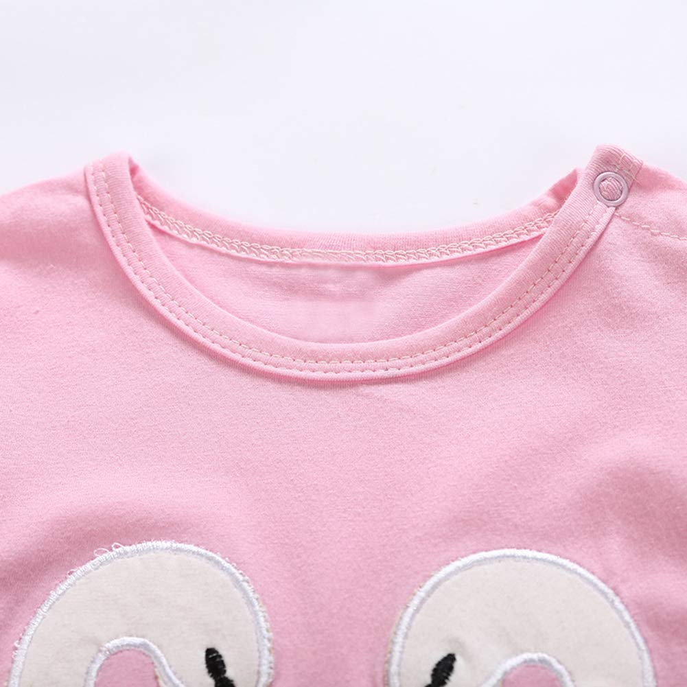 Leoie Baby Girl Long-Sleeved Pink Embroidered Swan Soft Cotton Climbing Suit