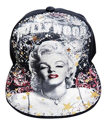 Rhinestone Marilyn Monroe Flat Bill Black Baseball Cap Hat Headwear Novelty