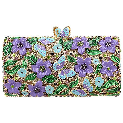 Purple Fiore Frizioni Sera Pochette Borsa Borsetta Donna Spalla Eleganti Cerimonia Partito Portafoglio Sposa Aqnw17Ua