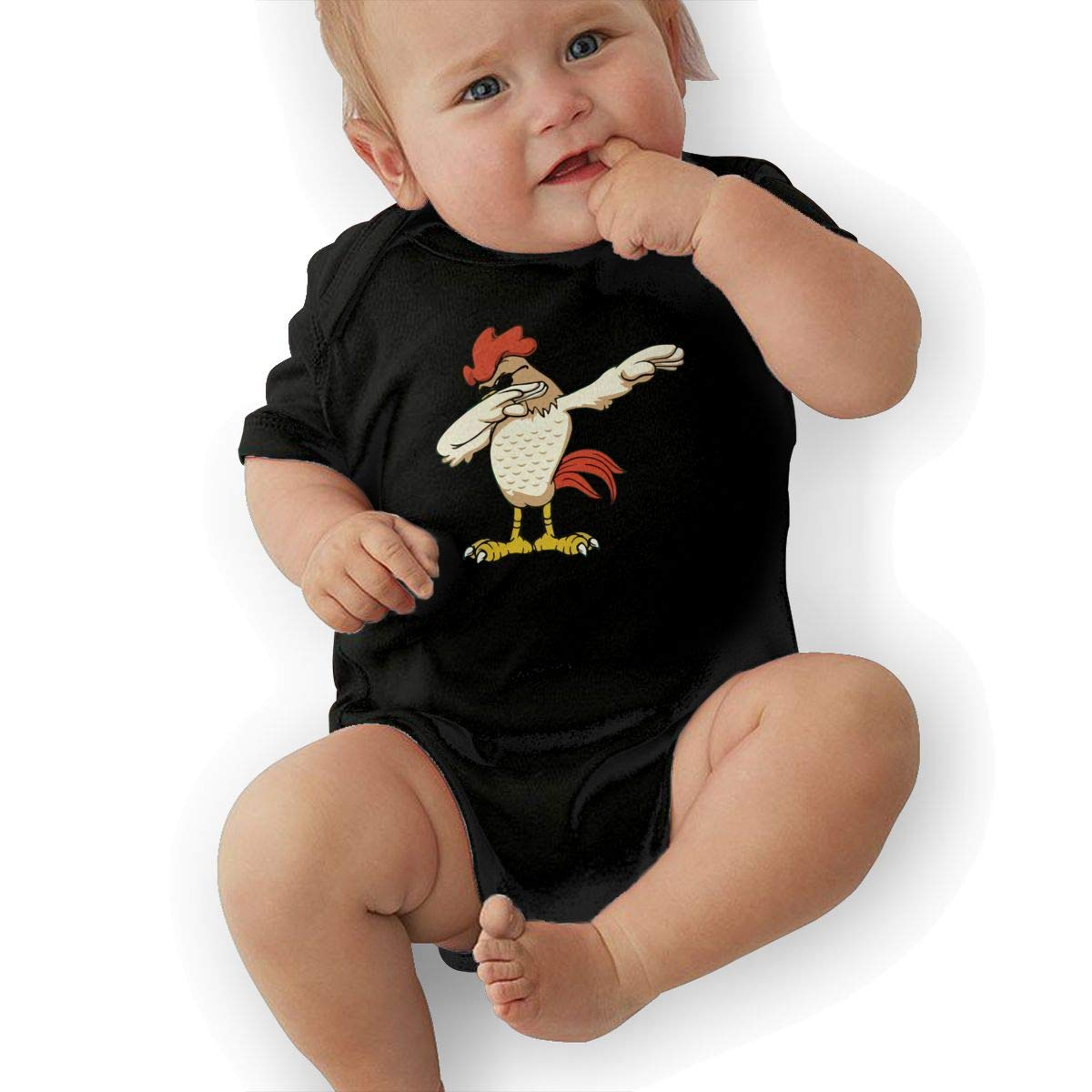 U88oi-8 Short Sleeve Cotton Bodysuit for Baby Girls Boys Cute Chicken Dabbing Crawler