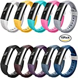 Fitbit Alta Bands,Greeninsync(TM) Textured Finish Fitbit Alta Accessory Replacement Bands Large 10 set W Metal Clasp Unique Design Fatener for Man Women Kids