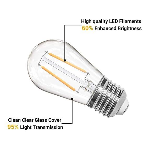 OxyLED S14 Ersatzlampen Gl/ühbirne LED Retro,IP65 Wasserdicht,6X2W LED Birnen E27 Warmwei/ß 2500K Gl/ühbirnen