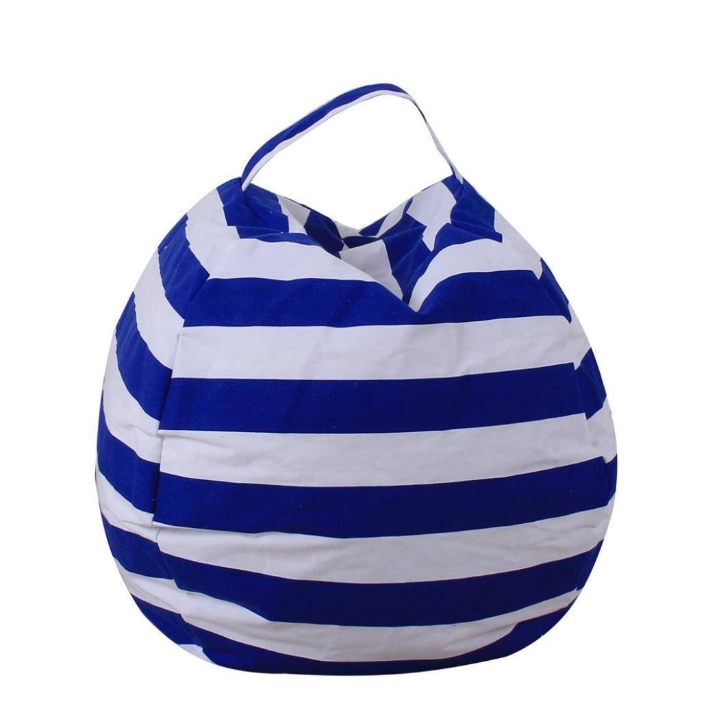 bestpriceam Kids Stuffed Animal Plush Toy Storage Bean Bag Soft Pouch Stripe Fabric Chair BU