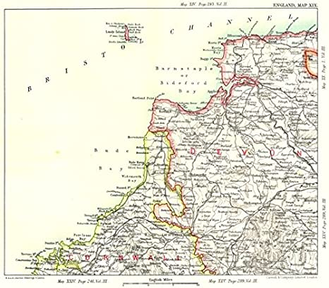 Map Of Uk Devon.North Devon Cornwall Coast Bude Bideford Bays Padstow Lundy