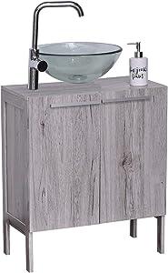 "Evideco Non Pedestal Under Sink Storage Vanity Cabinet Oslo Gray Oak, 23 3/4""L x 12""W x 27 5/8""H, Washed Grey"