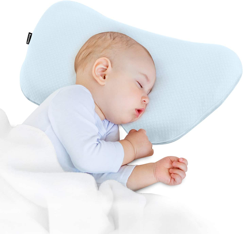 Bammax Almohada para Bebé, Almohada de Espuma para niños, Espuma de Memoria, Almohada para niños (Azul)