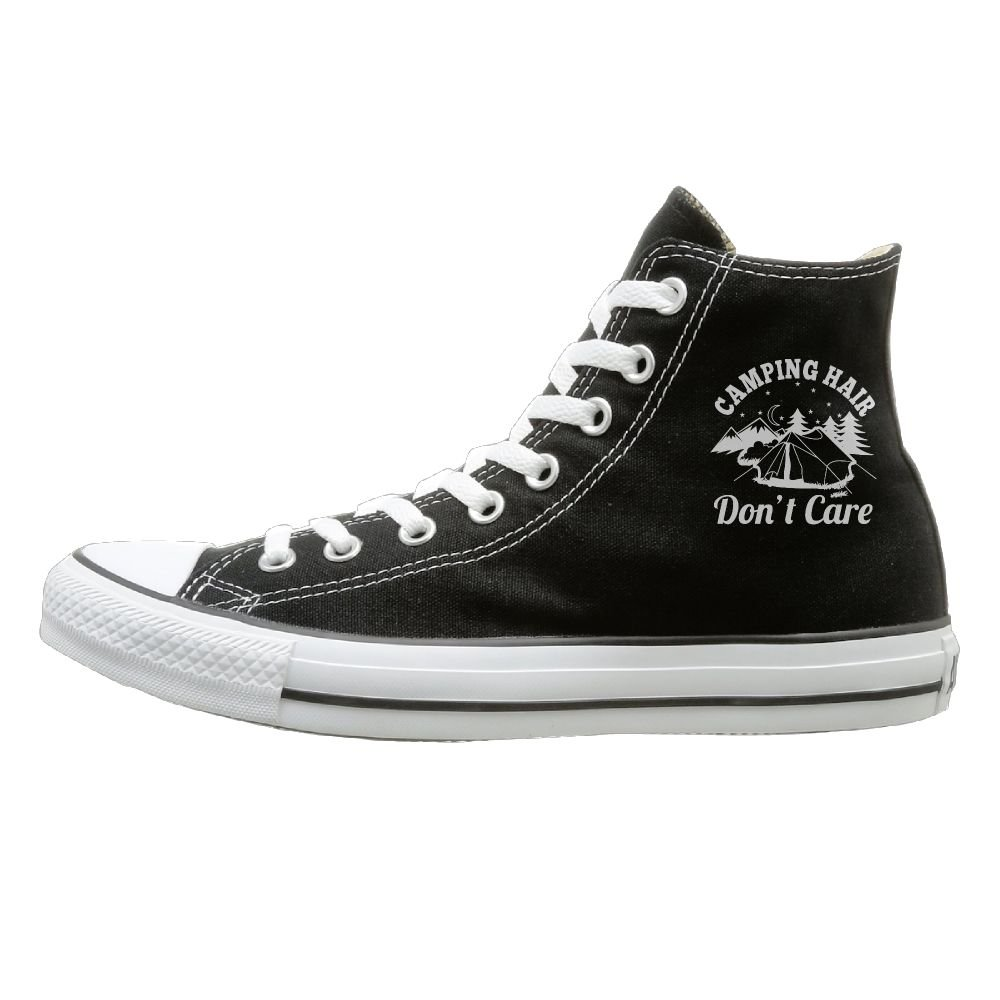 Sakanpo Camping Hair Dont Care Canvas Shoes High Top Casual Black Sneakers Unisex Style