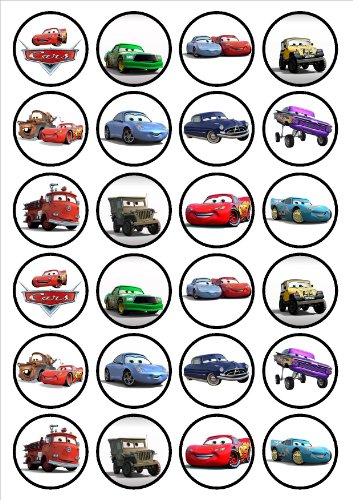 24 Disney Cars Edible PREMIUM THICKNESS SWEETENED VANILLA, Wafer Rice Paper Cupcake Toppers/Decorations