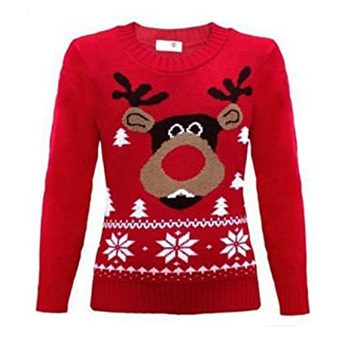 Kids Girls Boys Xmas Novelty Vintage Rudolph Knitted Jumper Sweater 3-12 years