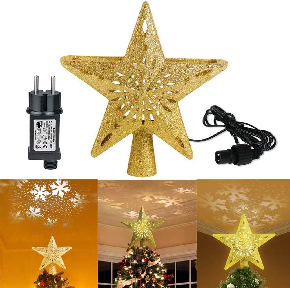 Navidad luz de la estrella la punta del árbol, luces para la ...