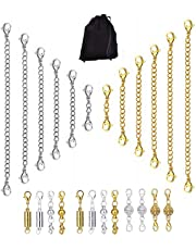 24 Pcs Necklace Extenders and Magnetic Clasps Kit,12 Pcs 3 Styles Jewelry Magnetic Lobster Clasps,12 Pcs 6 Different Length for Jewelry Necklace Bracelet Extenders Chain
