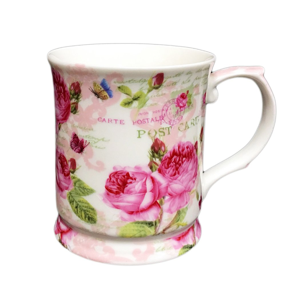 Hampstead Collection Porcelain Coffee Tea Mug (Pink Flowers) with Gift Box Packaging 14oz Homestead Heath