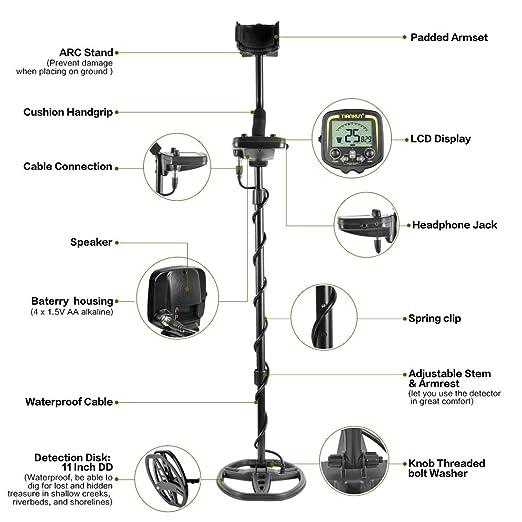 HOOMYA Detector de Metales subterráneo Profesional con Pantalla LCD y Auricular, Profundidad de 2, 5 m de escaneado para Sonda Exterior Metal-TX850: ...