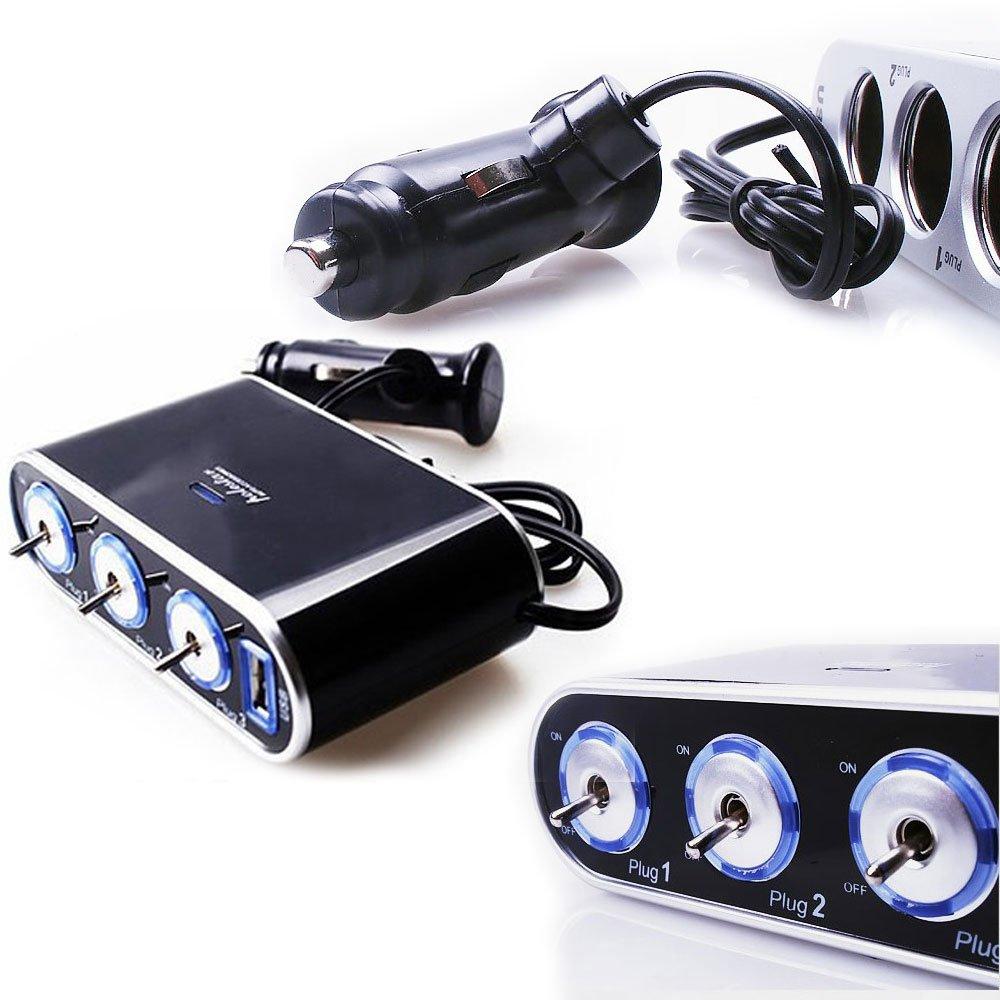 3-Wege-Multi-Sockel-Zigarettenanzünder-Splitter USB-Stecker ...