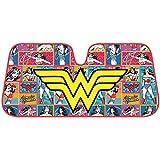 #10: Wonder Woman Auto Sun Shade - Windshield Car Sunshade - Yellow Logo w/ Retro Cartoon Background