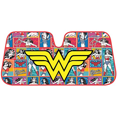 BDK Wonder Woman Auto Sun Shade - Windshield Car Sunshade - Yellow Logo w/Retro Cartoon Background