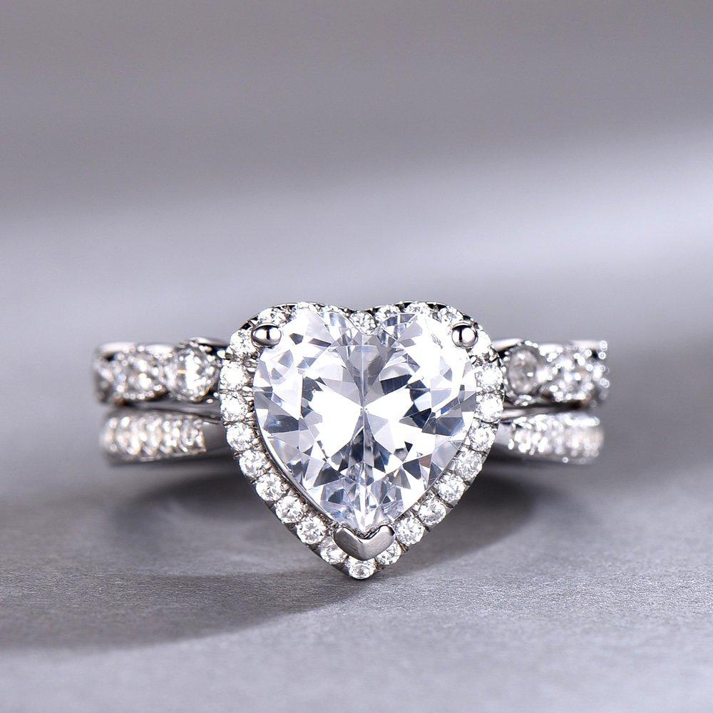 Amazon Com 8mm Heart Shaped Engagement Ring Set Diamond Cz