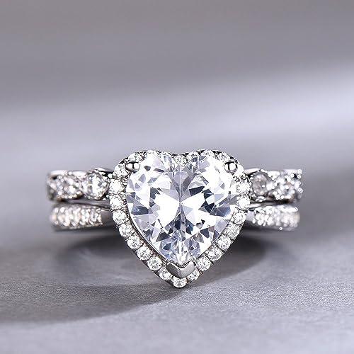 b9bd9ef17dc0 Amazon.com  8mm Heart Shaped Engagement Ring Set Diamond CZ Wedding Ring  Halo Ring Promise Ring Man Made Diamond Eternity Band White Gold Plated   Handmade