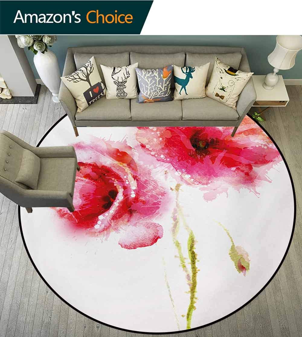 Flower Round Rug,Little Red Spring Summer Time Garden Florals Field Poppy Artwork Carpet Door Pad for Bedroom/Living Room/Balcony/Kitchen Mat,Diameter-35 Inch Hot Pink Pale Pink and White
