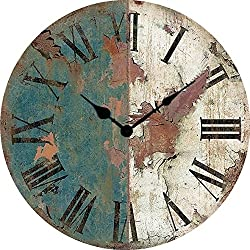 Wood crafts antique American clock wrought iron clock retro style wall charts large wooden wall clock diameter 34/40/50/60cm,A,24 inch