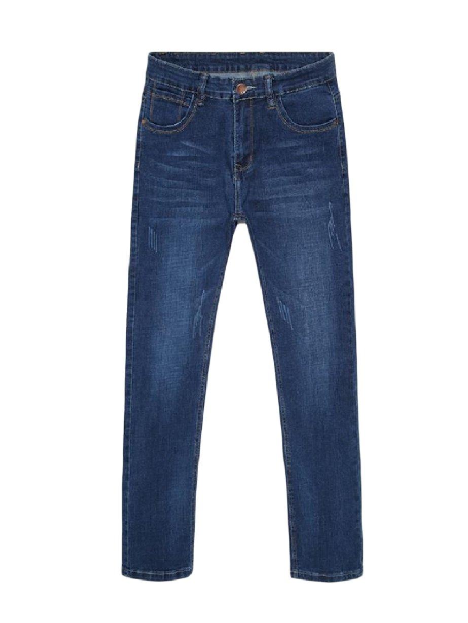 Zimaes-Men Straight Leg Vintage Wash Fine Cotton Fit Basic Cowboy Jeans Blue 36
