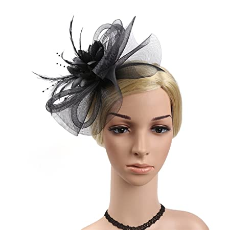 fcbca595b53c Ladies Day Headband Women Elegant Fascinator Hat Bridal Feather Hair Clip  Accessories Cocktail Royal Ascot Wedding Race (Color   Black)  Amazon.co.uk   ...