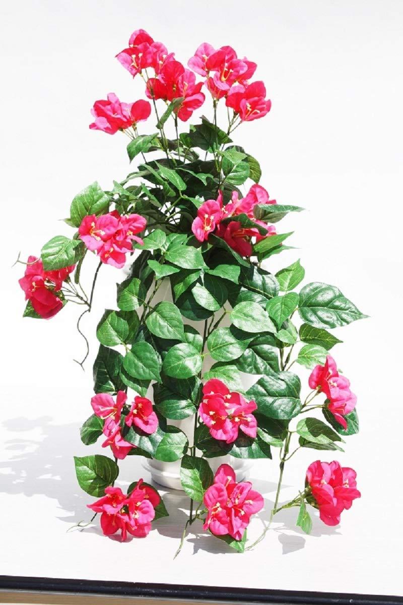 アートフラワー造花、新ブーゲンビリア陶器鉢受け皿付き光触媒製品 B07SYZ9D69