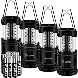 LED Camping Lantern, Costech 4 PACK Portable Brightest Outdoor Emergency Light; with 12 AA Batteries for Camping, Hiking, Fishing, Hurricane, Storm, Outage