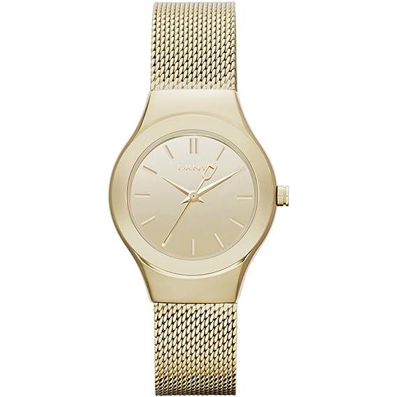 DKNY - Reloj Analógico de Cuarzo para Mujer, correa de Acero inoxidable color Dorado
