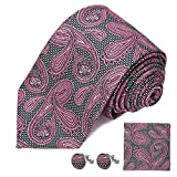 DEVPSISR Woven Paisley Tie Pocket Square Cufflinks Men Neckties Suit Accessories Formal set For Men(Pink)