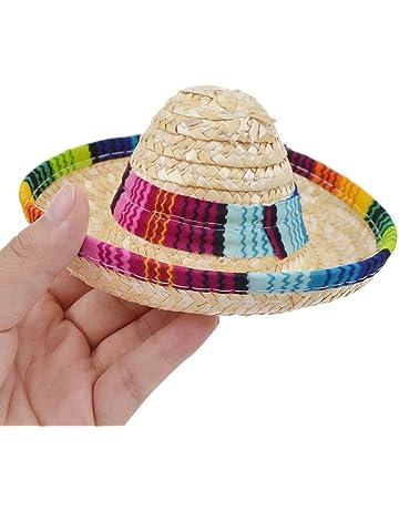 LuckyBB Multicolor Dog Cat Mexican Straw Sombrero Hat Pet Adjustable Buckle  cap b30ac998359