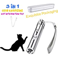 Laser Cat Toys, Exquisite Packaging, UV Flashlight, Red Light Mini Flashlight 3 in 1 Multi Function Funny Cat Chaser Toys, Pet Command Training Tools with USB Rechargeable
