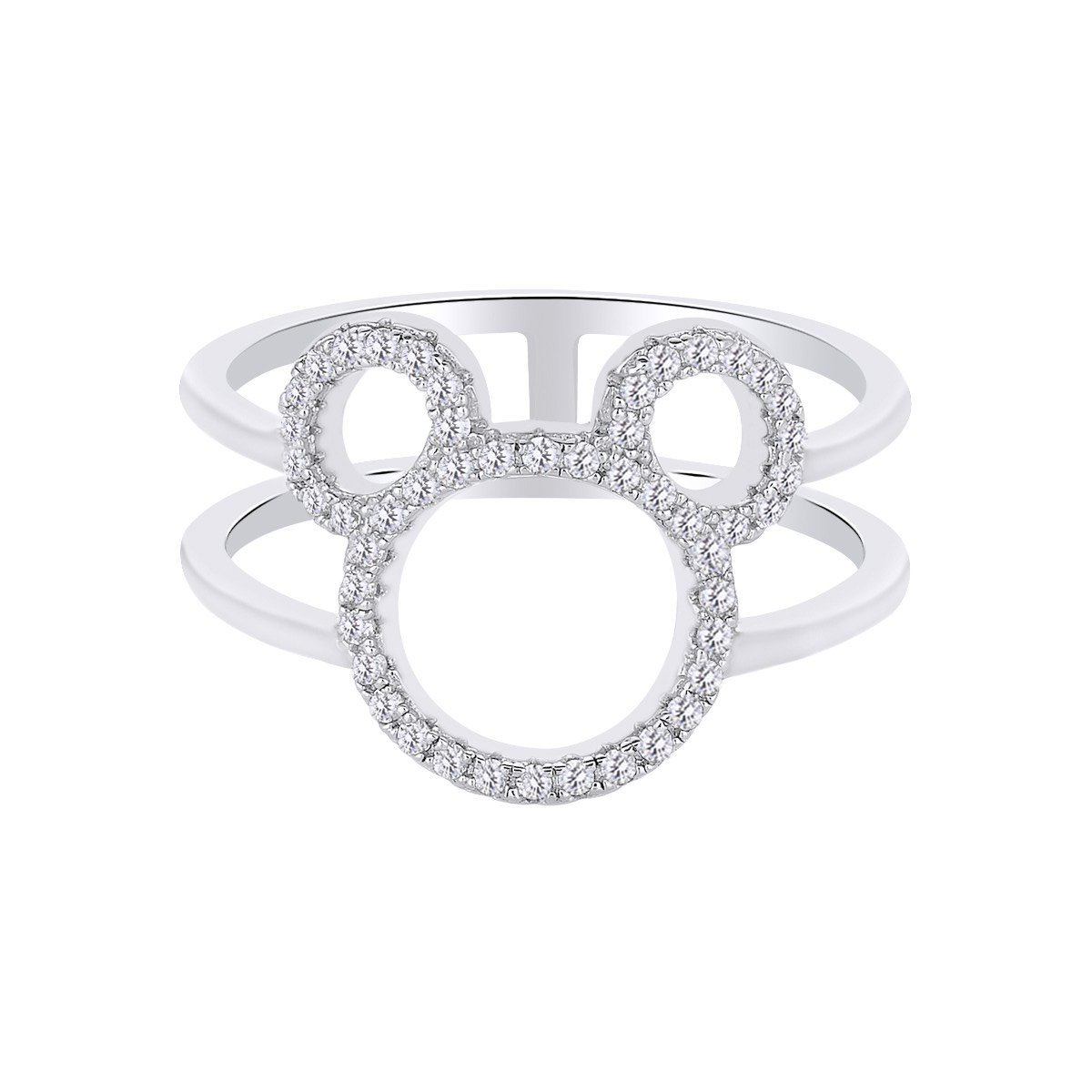 Stunning Round Shape White CZ Mickey Mouse Open Ring In 14K White Gold Over Sterling Silver, Ring Size:7