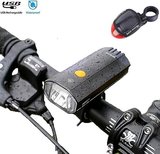 QIANDENG Luces Bicicleta Delantera LED y Luz Bici Trasera ...