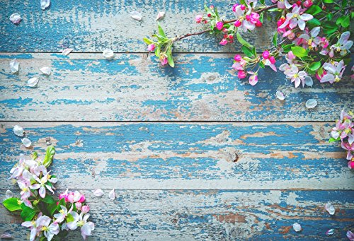 Yeele 7x5ft Vintage Blue Wood Board Backdrop Retro Shabby Fade Wooden Plank Flower Bouquet Petal Party Banner Photography Background Girl Boy Adult Portrait Photo Booth Photocall Studio Props