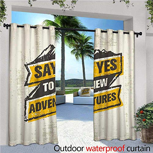 - cobeDecor Adventure Patio Curtains Explore The Great Outdoors Theme Retro Label Grungy Sketch Mountains Outdoor Curtain for Patio,Outdoor Patio Curtains W120 x L84 Marigold Black Coconut