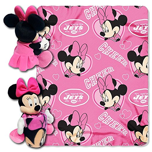 Mickey Mouse Line - The Northwest Company Officially Licensed NFL New York Jets Co Disney's Minnie Hugger and Fleece Throw Blanket Set