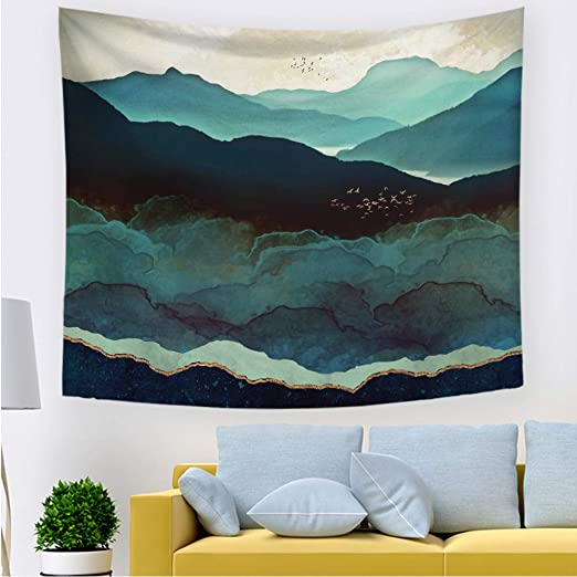 Printed in the USA Small to Giant Sizes Watercolor Tapestry Wall Hanging Mountains Mountain Scenic Landscape Tapestries Dorm Room Bedroom Decor Art