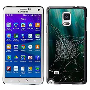 MOBMART Carcasa Funda Case Cover Armor Shell PARA Samsung Galaxy Note 4 - Spider Webs In The Woods